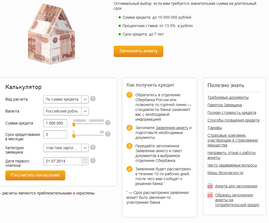 Потребительский кредит в Сбербанке под залог недвижимости.
